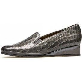 Rochester II Storm Grey Patent Croc Wedge Shoe