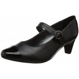 Jean Black Leather Combi Court Shoe