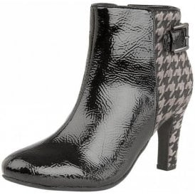 Soni Black Crinkle Shiny & Pewter Print Heeled Ankle Boots