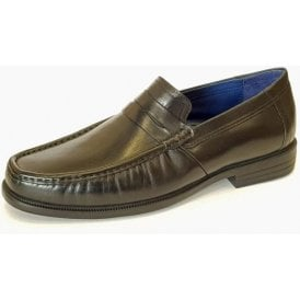 Baron Black Leather Slip On Shoe