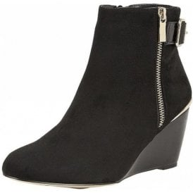 Cassia Black Microfibre Wedge Ankle Boot