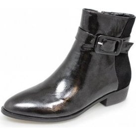 Croft GLC583 Black Patent Ladies Ankle Boot