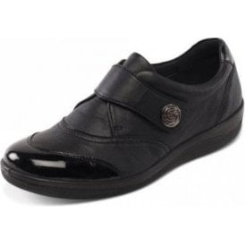 Gaby Black Leather with Patent Velcro Shoe