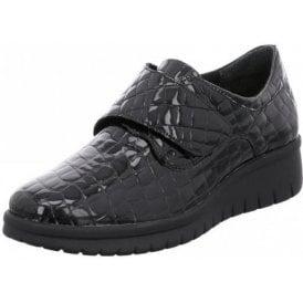 Varese N 12 Black Patent Croc Wedge Velcro Shoe