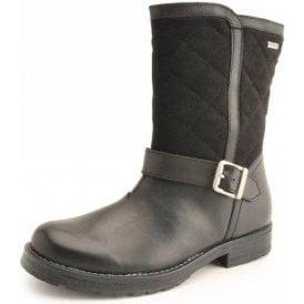 Aqua Jessie Black Leather Waterproof Girls Boot