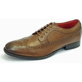 Bailey Burnished Tan Leather Lace Derby Brogue Shoe
