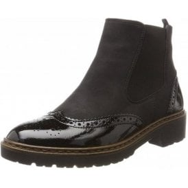 60004-60 Black Patent / Suede Brogue Boots