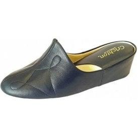 Dulcie 7312 Navy Leather Ladies Slipper