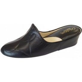 Dulcie 7312 Black Leather Ladies Slipper