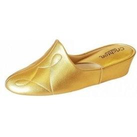 Dulcie 7312 Gold Leather Ladies Slipper