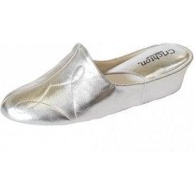 Dulcie 7312 Silver Leather Ladies Slipper