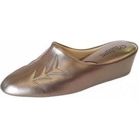 Natalia 7352 Pewter Leather Ladies Slipper