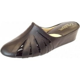 Mandy 3539 Black Leather with Patent Leather Ladies Slipper