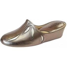 Molly 3542 Pewter Leather Ladies Slipper