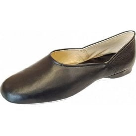 Grecian Black Leather Mens Slipper