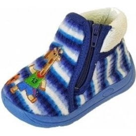 Safari Blue Fabric Boys Slipper