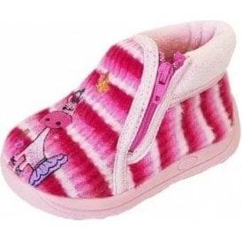 Safari Pink Fabric Girls Slipper