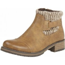 Tan Ayla Textile Ankle Boots
