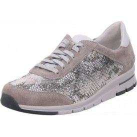Tabea 20 Gray With Snake Print Lacing Shoe