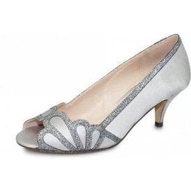 Dalia FLR470 Grey Satin Lower Heeled Peep Toe Court Shoe