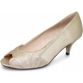 Dalia FLR470 Chanpagne Satin Lower Heeled Peep Toe Court Shoe
