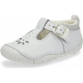 Baby Bubble White Leather Girls T-bar Pre-walkers