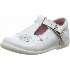 Sunflower Girl's White Patent First Walking Shoe
