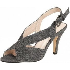 Endive Pewter Textile Open-Toe Sling-Back Shoes