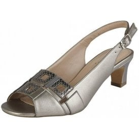 Aubrey Pewter Open Toe Sling-Back Sandals