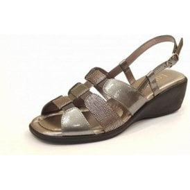 Mississippi Pewter Leather Sling-Back Sandals