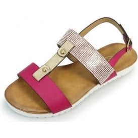 Saffie Cerise Sandal with Diamonte Trim