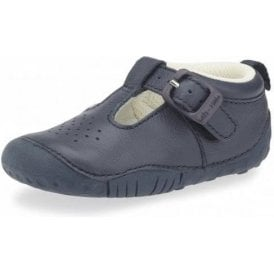 Baby Jack Navy Leather Boys First Shoe