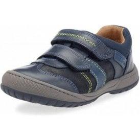 Flexy Tough Pri Navy Leather Boys Shoe