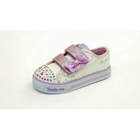 Twinkle Toes: Shuffles - Sweet Stepper White / Silver / Pink Fabric