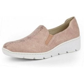 587B0-62 Beige Metallic Print Ladies Slip On Shoe