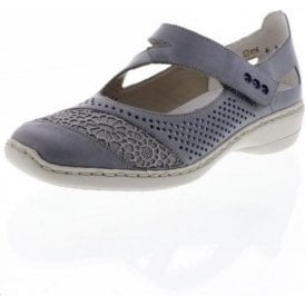41346-12 Blue Leather Velcro Shoe