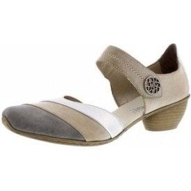 43790-40 Grey / Beige Leather Velcro Shoe
