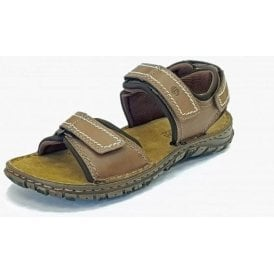 Canim Brandy Brown Leather Mens Velcro Sandal