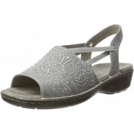 57262-77 Silver Metallic Sandal with Elasticated Straps