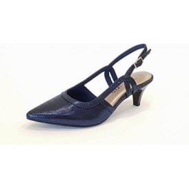 29610-20 Navy Metallic Sling Back Shoe