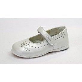 PHE 14183 White Leather Girl's Velcro Shoe