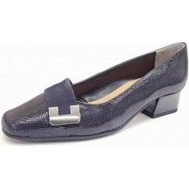 Duchess Midnight Reptile Print Court Shoe