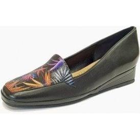 Verona III Paradise Print / Black Leather Wedge Shoe