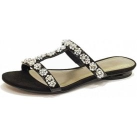 27191-20 Black Patent Sandal With Diamontes