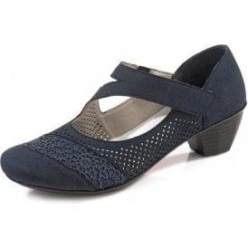 41743-14 Navy Leather Velcro Shoe