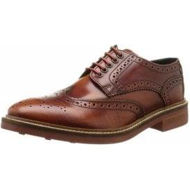 Woburn Tan Hi-Shine Leather Lace Derby Brogue Shoe
