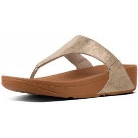 Lulu Toe-Thong Gold Shimmer Print Sandal