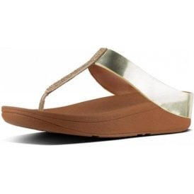Fino Crystal Toe Thong Gold Sandal
