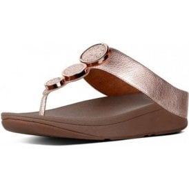 Halo Rose Gold Leather Sandal