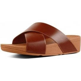 Lulu Cross Slide Caramel Leather Sandal